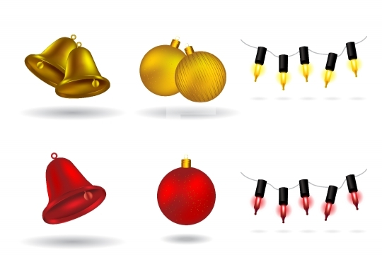 Christmas Design Elements - bells, balls, and lights vector