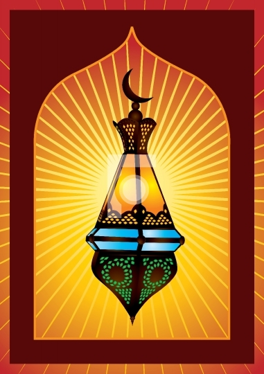 Colorful intricate arabic lantern for eid or ramadan celebration