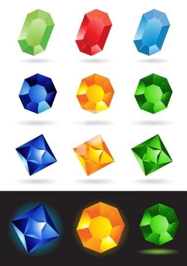 Colorful vector illustration of precious stones