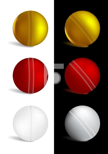 Cricket Ball in gold, red and white colors