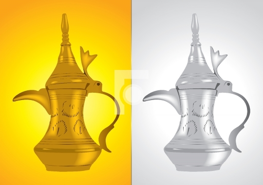 Dallah - the Traditional arabic coffee pot Vector Illustration