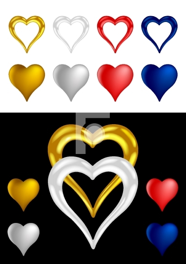 Different colored Metallic Heart Shapes - Vector Illustrations
