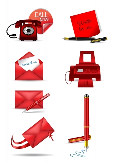 Different communication icons in red color - vector illustration