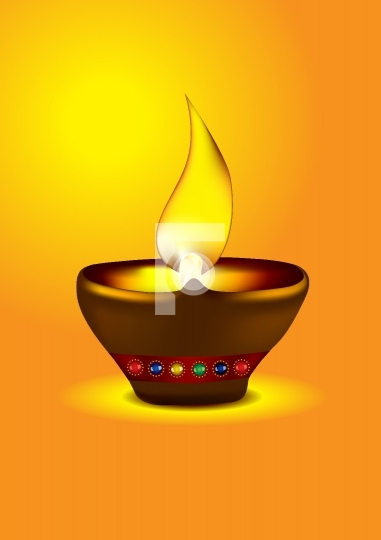 Diwali Diya - Oil lamp vector illustration