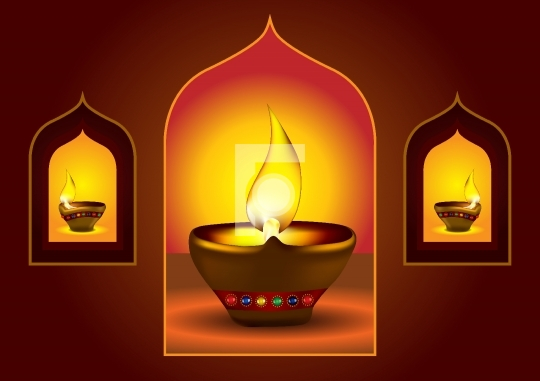 Diwali Diya on a window arch - Oil lamp vector illustration