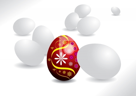 Easter egg - All white egg and one unique red egg