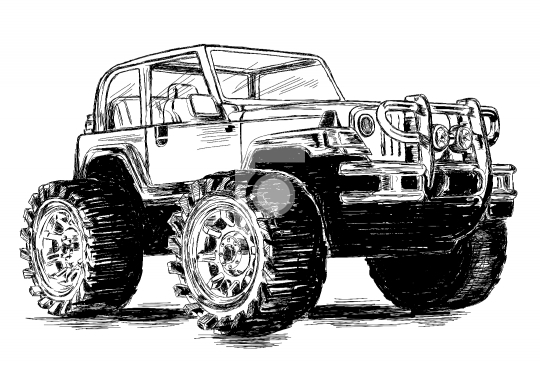 Extreme Sports - 4x4 Sports Utility Vehicle SUV Vector Illustrat