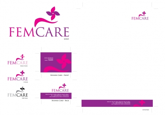 femcare logo with business cards and stationery