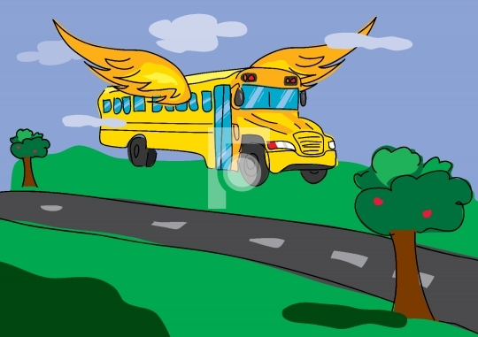 flying bus, back to school illustration