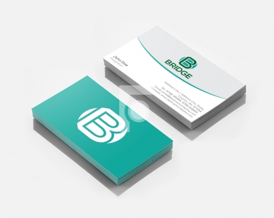 Free B Letter Bridge Logo Design & Business Card Template