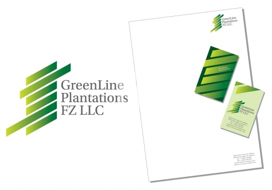 Greenline logo with business cards and letterhead EPS8 Format