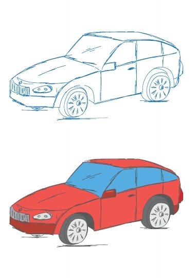 Hand Drawn Car Vehicle Scribble Sketch Vector Illustration