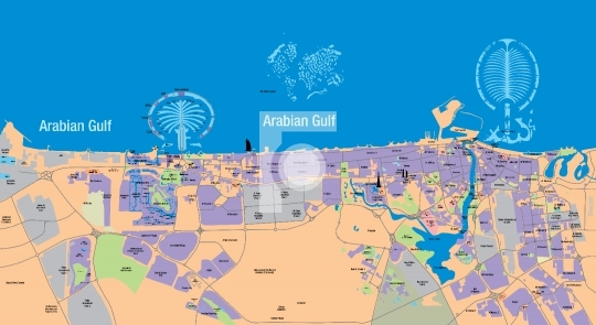 High Resolution Editable Dubai Map - Vector illustration in EPS