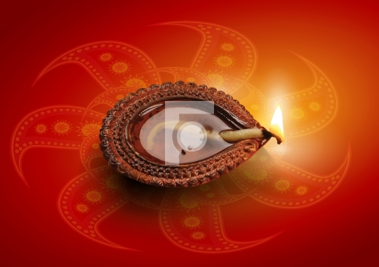 Hindu Festival Diwali Clay Lamp Diya Vector Illustration
