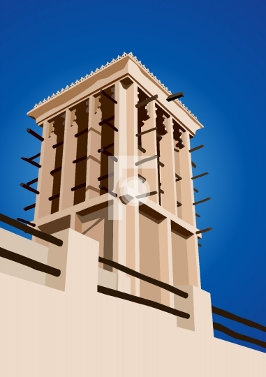 Historical Wind Tower Vector Illustration Dubai, United Arab Emi