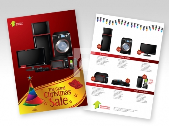 Home Appliances Christmas Sale Print Ready Template A4 Size