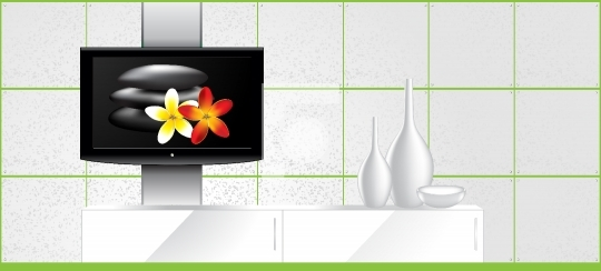 Home Interior - LCD tv on the wall and decorations - vector