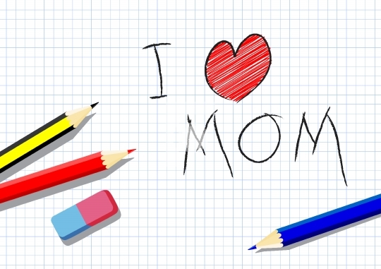 I love mother, drawing by a child