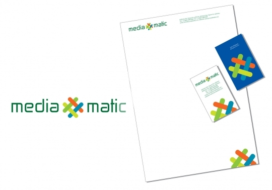 Mediamatic logo with business card and letter head