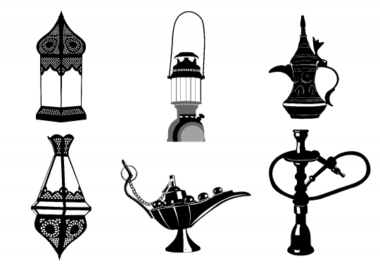 Middle Eastern Vector Icon Illustrations - Lamps, Coffee Pot, Ho