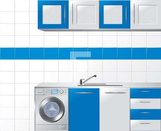 Modular Kitchen in Blue and Silver - Vector Illustration