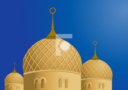 Mosque and Blue Sky - Vector Illustration