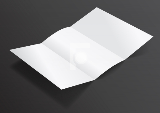 Open White Blank Folded Trifold DL Flyer for Mock up - Vector Il