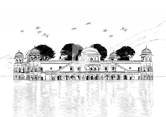 Palace in Water - Jal Mahal, Rajasthan, India Vector Illustratio