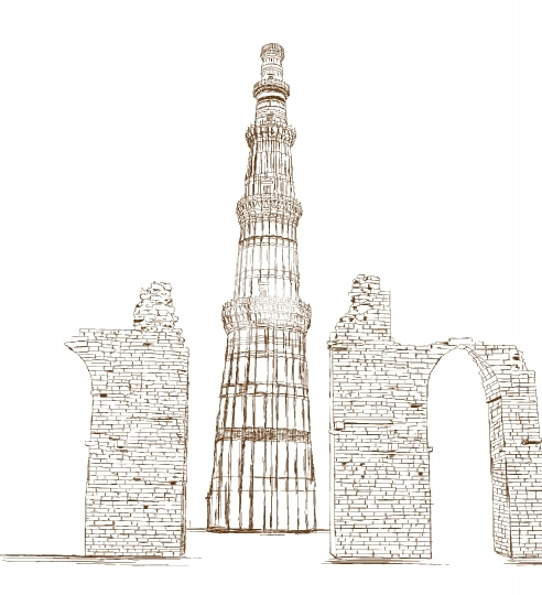 Qutub Minar, New Delhi, India - Vector Illustration