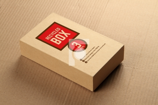 Recycled Card Board Box Mockup - Place your design with transpar