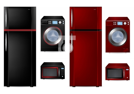 Refrigerator, Washing Machine and Microwave - Vector Illustratio
