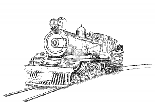 Retro Stream Locomotive Train Railway Engine Vector Illustration