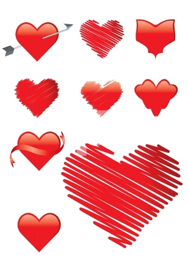 Set of 9 heart shapes in red