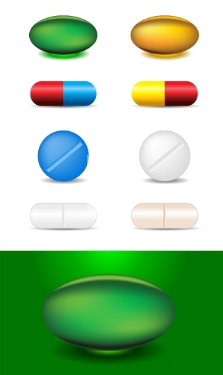 set of different capsules and medicines