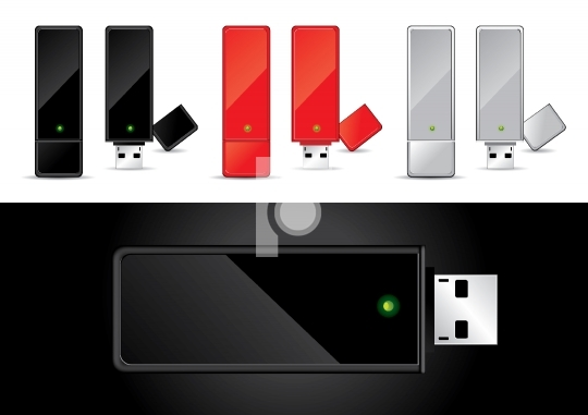 USB Disk in Black, Red and Silver - Vector Illustration