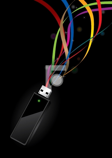 USB Disk with data transfer concept - vector illustration