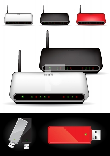Various wireless modems - vector illustration
