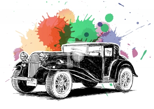Vintage Retro Classic Old Car with colorful ink spatter Vector I